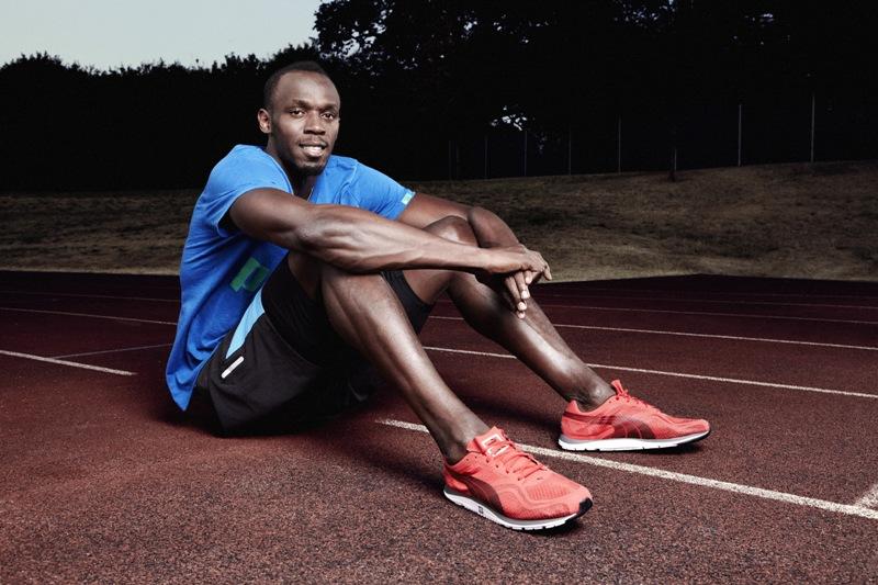 Usain Bolt wears the PUMA Faas 100R