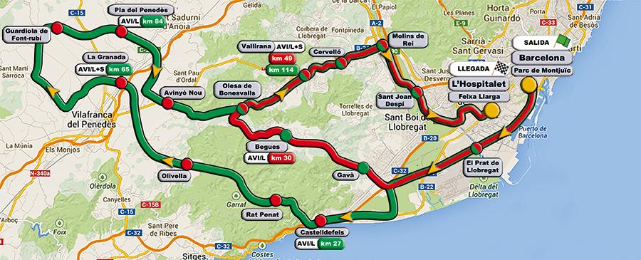 Los recorridos de la CICLEPIC. En rojo el corto y en verde el largo.
